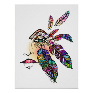 EYE Love FEATHERS Fantasy Art 18x24 Poster