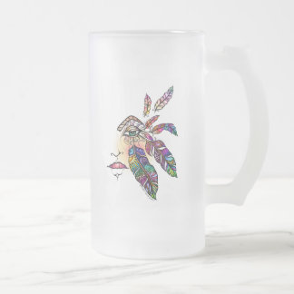EYE Love FEATHERS Fantasy Art Frosted Glass Beer Mug