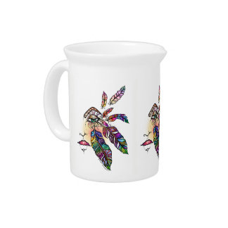 EYE Love FEATHERS Fantasy Art Pitcher