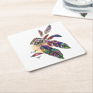 EYE Love FEATHERS Fantasy Art Square Paper Coaster
