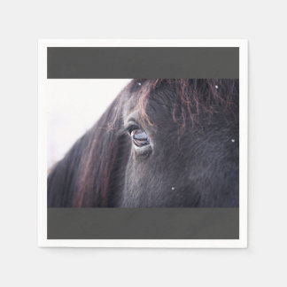 Eye of a black horse paper napkin