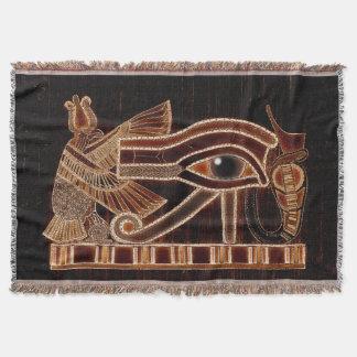 Eye of Horus, Ancient Egyptian Wadjet Art Throw Blanket