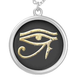 Eye of Horus Dark Round Pendant Necklace