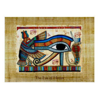 Eye of Horus on Papyrus-effect Egyptian Art Poster