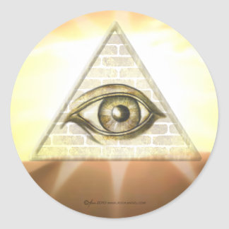Eye of Providence Sunburst Round Sticker