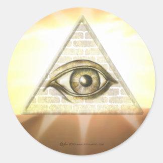 Eye of Providence Sunburst Round Sticker