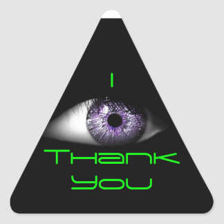 Eye of Purple Cute Cool Eyeball Design in Green Triangle Sticker