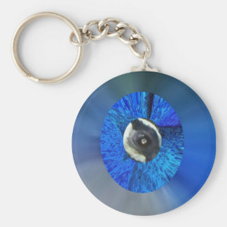 Eye of the Peacock Basic Round Button Key Ring