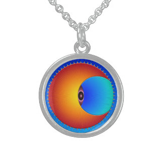 Eye Of The Sun Round Silver Necklace