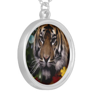 Eye Of The Tiger Large Round Silver Necklace