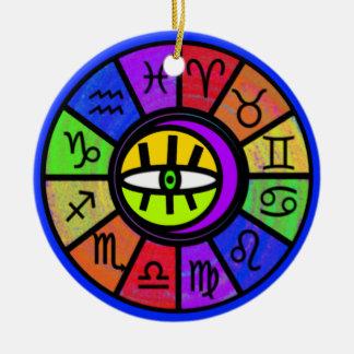 Eye Of The Zodiac Round Ceramic Decoration
