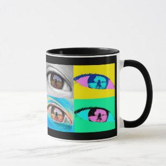 eye photographs and pop art style mug