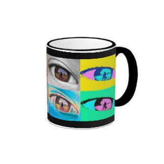 eye photographs and pop art style ringer mug