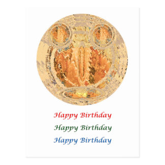 Eye Popping Art - HappyBirthday  Gold Coin Face Postcard