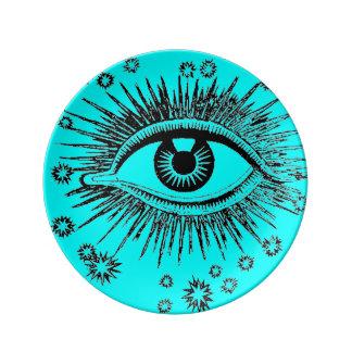 Eye See You ICU Mystic Weird Odd Graphic Art Porcelain Plate