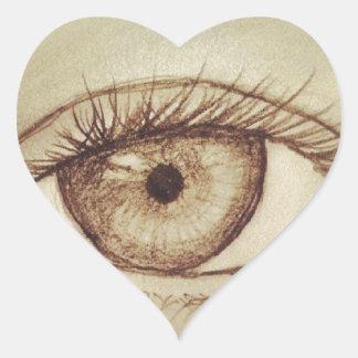 Eye Sketch Heart Sticker