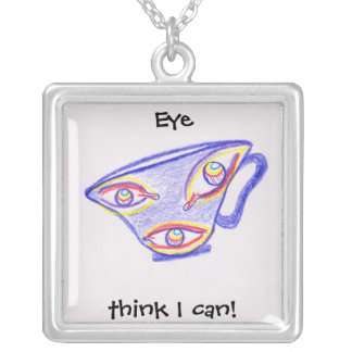 Eye Think I Can Square Pendant Necklace