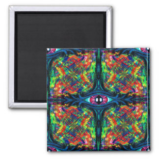 Eye Twisted and Trippy Square Magnet