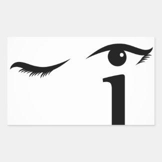 Eye winking with letter i forming the eyeball rectangular sticker