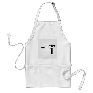 Eye winking with letter i forming the eyeball standard apron