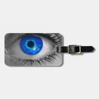 Eye with blue iris looks at viewer concept ma luggage tag
