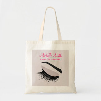 Eye with long lashes lash extension branding tote bag