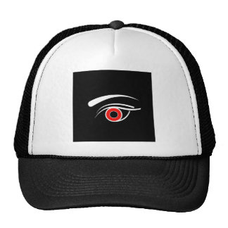 Eye with red iris hats