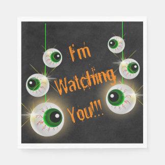 "Eyeball I'm Watching You Halloween Napkins 6.5"" Disposable Napkins"
