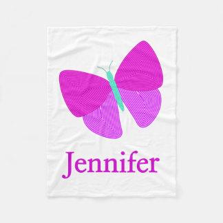 Eyecatching Artistic Line Pattern Butterfly + Name Fleece Blanket