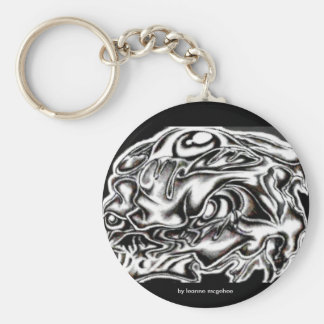 eyed skull basic round button key ring