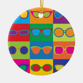 Eyeglasses Checkerboard Round Ceramic Decoration