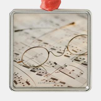 Eyeglasses on Sheet Music Christmas Tree Ornament