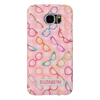 Eyeglasses Retro Modern Hipster Pink Gingham Name Samsung Galaxy S6 Cases