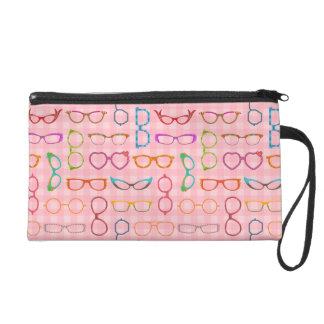 Eyeglasses Retro Modern Hipster with Pink Gingham Wristlet Purse