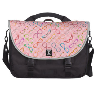Eyeglasses Retro Modern Hipster with Pink Gingham Commuter Bags