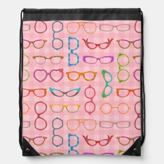 Eyeglasses Retro Modern Hipster with Pink Gingham Backpacks