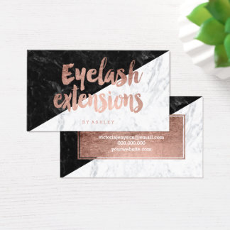 Eyelash block modern rose gold typography marble business card