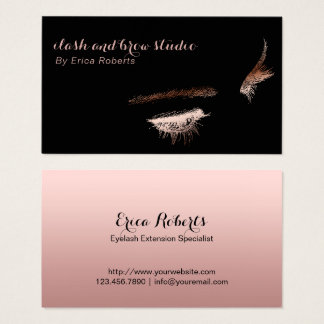 Eyelash & Brow Makeup Artist Rose Gold Foil Business Card