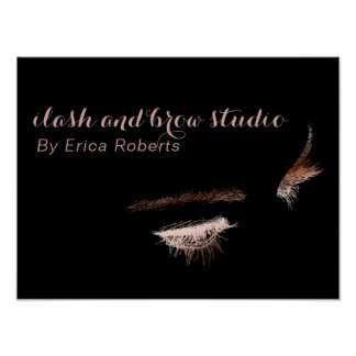 Eyelash & Brow Makeup Artist Rose Gold Foil Salon Poster