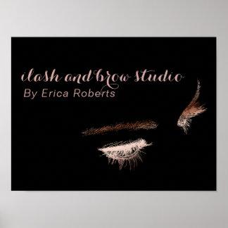 Eyelash & Brow Makeup Artist Rose Gold Foil Salon Poster