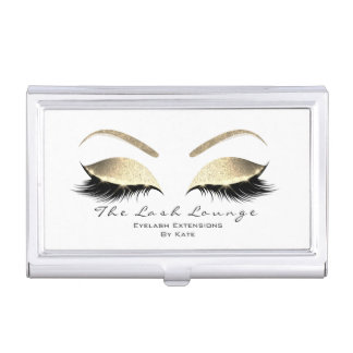 Eyelash Extension Beauty Studio Gold Glitter1 Business Card Holder