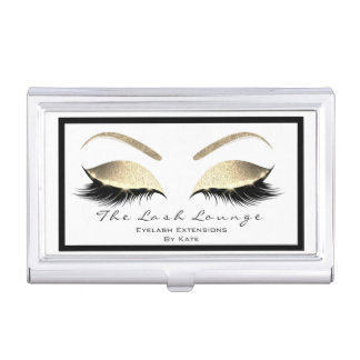 Eyelash Extension Beauty Studio Gold Glitter Business Card Holder