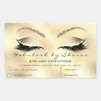 Eyelash Extension Makeup Beauty Salon Adress Gold2 Rectangular Sticker