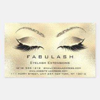 Eyelash Extension Makeup Beauty Salon Gold VIP Rectangular Sticker
