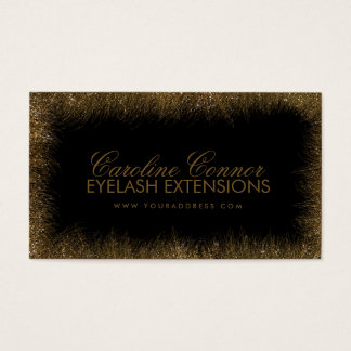 Eyelash Extensions Golden Lashes Border Card
