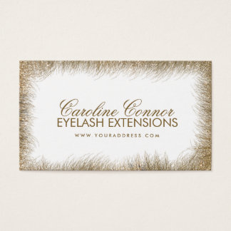 Eyelash Extensions Golden Lashes Border White Card