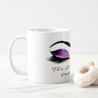 Eyelash Extention Beauty Magenta Purple Glitter Coffee Mug