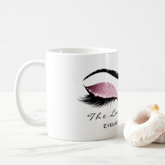 Eyelash Extention Beauty Studio Pink Rose Glitter Coffee Mug