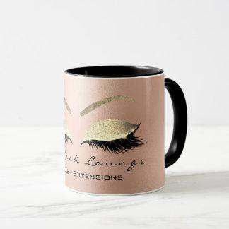 Eyelash Extention Beauty Studio Rose  Gold Glitter Mug