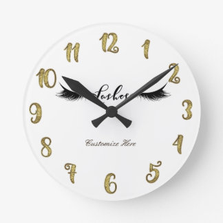 Eyelashes Lashes Gold & Black Glam Personalized Round Clock